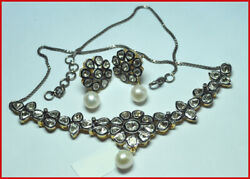 925 Sterling Silver Diamond Polki Pearl Necklace Set Antique Style Jewelry Bo