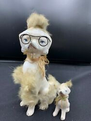 Vintage  Japan Ceramic Poodle And Pup With Fur And Glasses