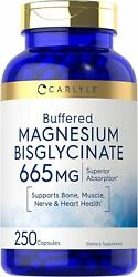 Magnesium Bisglycinate 665mg | 250 Capsules | Buffered Supplement | By Carlyle