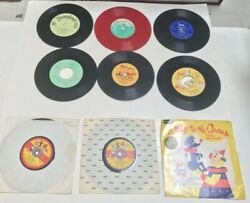 Lot Of 9 Vintage Records 45 And 33 Rpm Childrens Songs, Nursurey Rhymes, Disney
