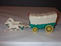Vintage Hardy Galloping Action Horses Covered Wagon Plastic Toy 1955