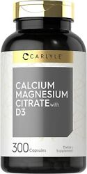 Calcium Magnesium Citrate With Vitamin D3 | 300 Capsules | By Carlyle