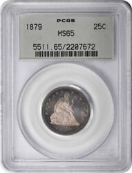 1879 Liberty Seated Silver Quarter Ms65 Pcgs