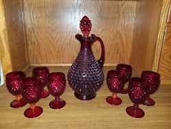 Vintage Fenton Art Glass Ruby Red Hobnail Decanter And 8 Wine Glasses