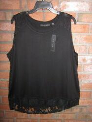 New 54 Tags Nwt Cyrus Black Lace Trimmed Silky Stretch Sleeveless Top 1x 2x 3x