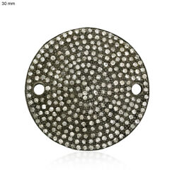 Vintage Style 925 Sterling Silver Disc Pave Diamond Jewelry Connector Finding