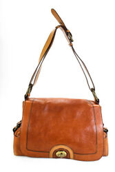 Marc Jacobs Womens Leather Flap Turnlock Shoulder Bag Handbag Brown $69.99