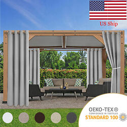 2 Panels Blackout Indoor/outdoor Curtains With Grommets Privacy Porch Waterproof