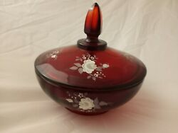 Fenton Glass Hand Painted White Roses On Ruby Red Candy Powder Dish With Lid