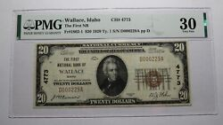 20 1929 Wallace Idaho Id National Currency Bank Note Bill Ch. 4773 Vf30 Pmg