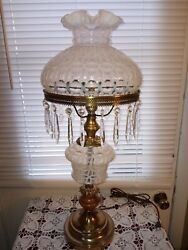 Fenton Vintage Wedding Rings French Opalescent Student Table Parlor Accent Lamp