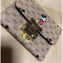 Disney Mickey Mouse Collaboration Wallet Card Mini Leather Limited Rare