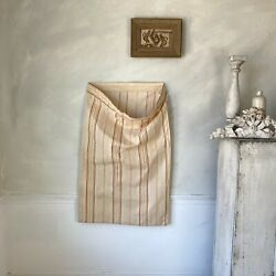 Ticking Fabric Antique French 19th Century Intact Mattress Tick Textile Rustic