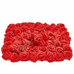 Red Artificial Rose Flower Heads With Stems 3 Inch Faux Flower 60 Pk