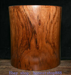 9.6 Old Chinese Huanghuali Wood Dynasty Carved Ghost Eyes Brush Pot Pencil Vase