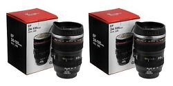 Camera Lens Shaped Coffee Mug Made Of Stainless Steel 2 Piecesx400ml Black