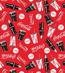 Coca Cola Red Fabric Digital Printed Fabric By The Yard