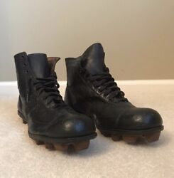 Vintage Early 1900s Reach Leather Football Boots With Wood Cleats