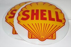 Shell 13.5 Gas Pump Globe Faces Set Of Two Heavy Strength Glass