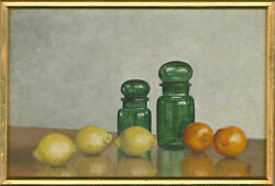 Attrib. Ray Greenfield - 20th Century Oil Citrus Fruits And Green Jars