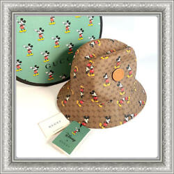 Disney Mickey Mouse Collaboration Bucket Hat Cap Size L Brown Limited