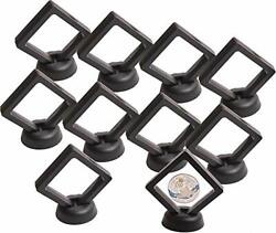 Coin Display Stand - Set Of 10 3d Floating Frame Display Holder With Stands For