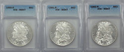 Ms67 1880-s 1881-s 1882-s Morgan Silver Dollar Series Lot Bright And Beautiful