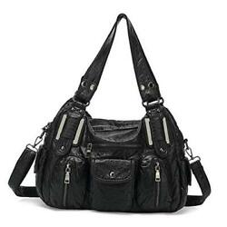 Multi Pocket Hobo Bags for Women Soft Leather Handbags Shoulder Purses Black $64.23