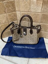 Dooney And Bourke Handbag Signature Canvas And Leather With Dust Bag.Pre Loved. $39.99