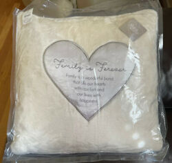"""Pavilion Gift Co. Family Is Forever 16"""" Royal Plush Pillow Zippered Cover NWT"""