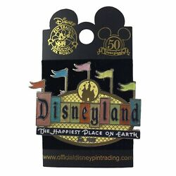 Disneyland 50th Anniversary Retro Collection Marquee Sign Flags Pin New