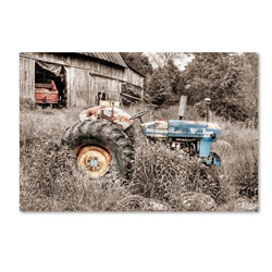 Blue Tractor Bw By Bob Rouse, 22x32-inch Canvas Wall Art