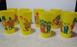 Rare 8 1970s Yellow Plastic Ronald Mcdonald And Crew Cup By Amoco Tote G6