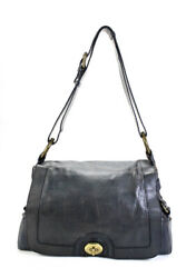 Marc Jacobs Womens Leather Flap Turnlock Shoulder Bag Handbag Navy Blue $69.99