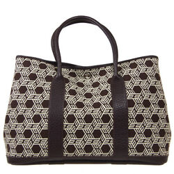 Hermes Garden Party Hand Tote Bag □k Brown Toile So H Buffalo Sindhu Auth 40683