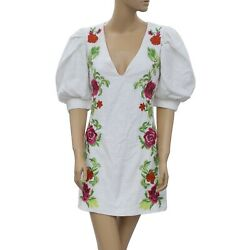 Uterque Zara Floral Embroidered Jacquard Mini Dress Evening White S 26 Nw 205915 $62.99