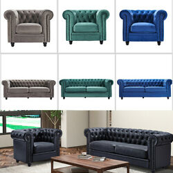 Chesterfield Rolled Arm Couch Sofa Velvet Leather Armchair Fit Living Room
