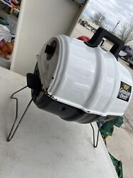 Keg-a-que Keg Shaped Miller Mgd White Charcoal Grill Used Portable