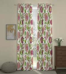 Zinnia Full Embroidered Custom Curtain Stripes And Headers Lined 2 Panels