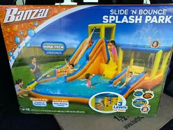 New Banzai Slide And039n Bounce 6 Person Splash Park. With Blower Motor W/ Gcfi