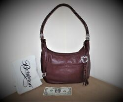 Brighton Barbados Ziptop Hobo Bag Burgundy Leather Medium Handbag Dust Bag $26.00