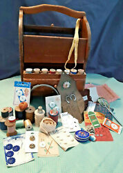 Vintage Wooden Sewing Basket Box Buttons Notions Wooden Spools Thread-ships Free