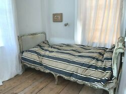 Antique Mattress Feather Bed Ticking Tick Textile Daybed French Blue Linen