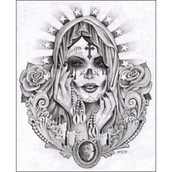 Santa Muerte By Mouse Lopez Mexican Saint Tattoo Black And White Canvas Art Print