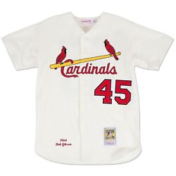 St Louis Cardinals Bob Gibson Mitchell And Ness 1964 Cream Home Authentic Jersey