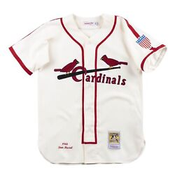St Louis Cardinals Stan Musial Mitchell And Ness Cream 1944 Home Authentic Jersey