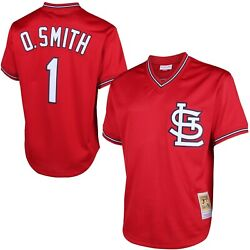 St Louis Cardinals Ozzie Smith 1 Mitchell And Ness 1996 Authentic Mesh Bp Jersey