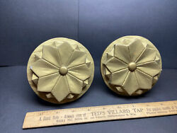 2 Old Antique Wood Hand Carverd Finials Rosettes Window Curtain Tie Back Drapery