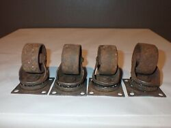 Vintage Antique Steel Casters Wheels Lot Of 4 Furniture Chairs Rusty Old