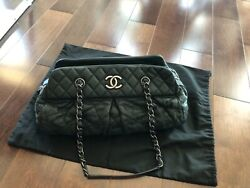 Auth Quilted Chain Shoulder Bowling Bag Black Iridescent Calfskin Leather